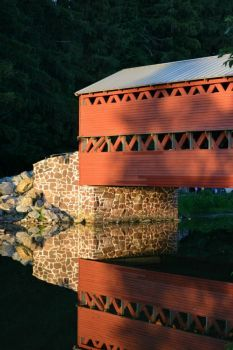 Covered Bridge in The Last Rays of Daylight... (35 pieces)