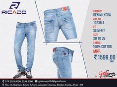 New Collection @ Ricado #Jeans  Product: Denim Lycra Fit: Slim-Fit  Size: 28 To 38 Fabric: 100% Cotton  #DenimLycra #Ricado #Cotton #SlimFit #SlimFitDanim