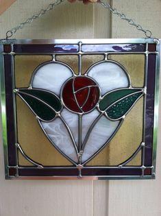 Stained Glass Panel édouardienne Rose par HappyArtGlass sur Etsy