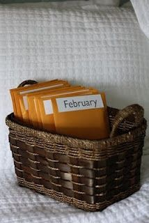 Cute Christmas gift for hubby.  Pre-packaged date nights for the year.  Each envelope supplied with date night items.