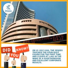 #ChoiceBroking #Trivia - On 25 July 1990, the SENSEX touched the four-digit figure for the first time and closed at 1,001 in the wake of a good monsoon and excellent corporate results