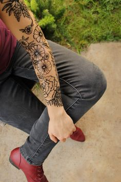 Floral SLEEVE Temporary Tattoo! 5+ Piece Black Line Design! Daisies, Roses, Vines, Leaves, Ferns, Peonies