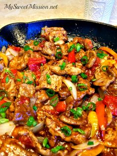 Asian Pepper Steaks have tender strips of lean beef, with peppers, onions and diced tomatoes, in a savory sauce that has a touch of heat and sweetness!