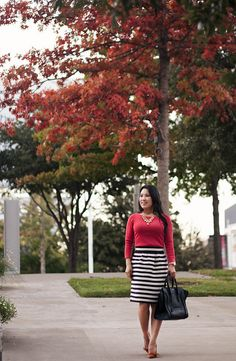 cute & little blog | fall colors outfit | red-orange top, black white striped skirt, sole society elisa, gold jewel statement necklace, celine mini luggage tote by kileencheng, via Flickr