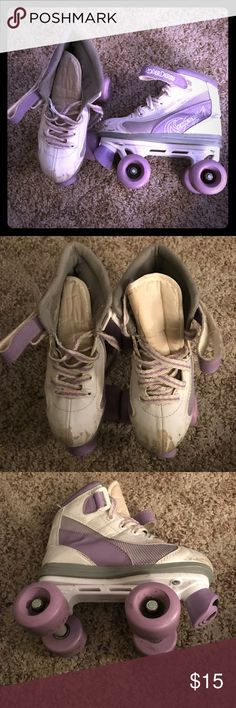 Roller skates Purple/white girl roller skates. In good condition other than the scratches on the toe of both skates from falling. Wheels are tight. roller derby Other