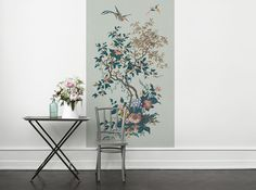 A+decorative+photo+wallpaper+that+doubles+as+a+mural+painting,+with+trees+and+beautiful+birds,+inspired+by+a+hand-painted+French+original+design+from+1845.