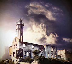 An amazing composite photo of the island lighthouse and remnants of the warden's home.  Photo by M. Bledowski courtesy of #Alcatraz History