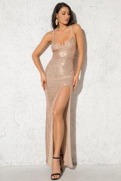 Gold Sequin Dress Bodycon Strappy High Slit Party Evening Dress Floor Length Maxi Dress - Sequin Dresses - Ideas of Sequin Dresses Gold Sequin Dress, Sequin Maxi, Lace Maxi, Stunning Dresses, Sexy Dresses, Evening Dresses, Dresses With Sleeves, Prom Dresses, New Years Eve Dresses