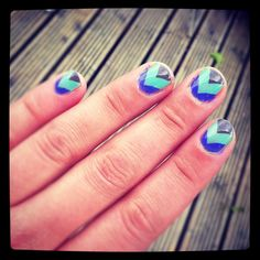 Chevron Nails in mint, mink and purple