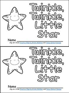 twinkle twinkle little star book poster more kindergarten nursery rhymes