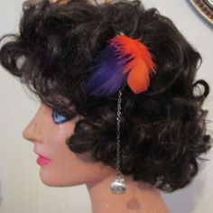 Purple and Orange Feather Hair Clip #Handmade