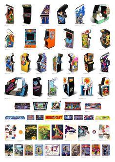 Megaposter des plus belles bornes d'arcade Atari et Nintendo Vintage Videos, Vintage Video Games, Classic Video Games, Retro Video Games, Vintage Games, Video Game Art, Retro Arcade Games, Mini Arcade, Nintendo