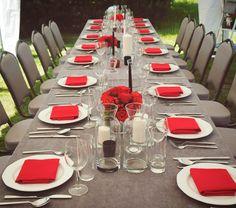 Szaro-czerwone nakrycie stołu | Dekoracja stołu na 60 urodziny | 60 lecie mężczyzny | Przyjęcie w ogrodzie z okazji 60 urodzin | Męska 60 Table Settings, Table Top Decorations, Place Settings, Tablescapes