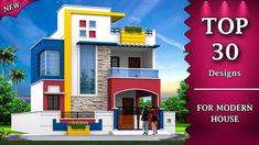 Single Floor House Design, House Front Design, Modern House Design, Modern Houses, Front Elevation Designs, Building Elevation, House Elevation, Living Room Partition Design, 2 Storey House Design