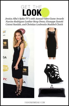 get the look-121012-Jessica Alba's Spike TV's 10th Annual Video Game Awards Narciso Rodriguez Leather Strap Dress, Giuseppe Zanotti Cutout Sandals, and Christian Louboutin Studded Clutch