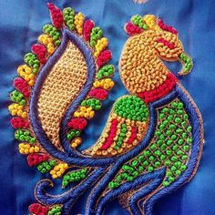 Hand embroidery Peacock Embroidery Designs, Bead Embroidery Patterns, Embroidery Works, Beaded Embroidery, Hand Work Blouse Design, Simple Blouse Designs, Maggam Work Designs, Designer Blouse Patterns, Hand Designs