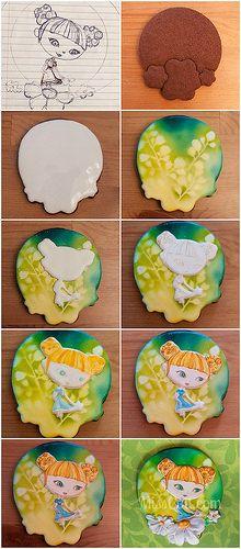"""making of"" Boréale de pollen | by MissCuit.com Galletas Cookies, Cake Cookies, Biscuits, Cookie Tutorials, Vintage Cookies, Fondant Figures, Sugar Flowers, Gum Paste, Royal Icing"