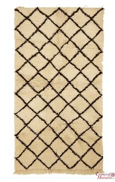 Beni Ourain Rug Vintage. Moroccan Pure Wool . Hand-knotted Handmade in Morocco Genuine and Authentic. 159 cm x 90 cm (BOS3)