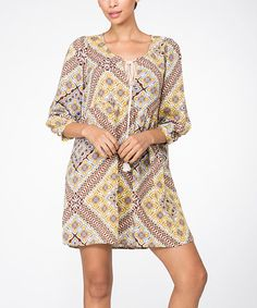 Look at this Illa Illa Mustard Geometric Shift Dress on #zulily today!
