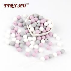 Strong-Willed Teeny Teeth 10 Pcs Pearl Pink Baby Accessories Beads Round Size 12-15mm Food Grade Teething Silicone Loose Bead For Diy Jewelry Making Things Convenient For Customers Beads & Jewelry Making Beads