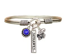 Kansas Jayhawks 3 Charm Crystal Silver Wire Bracelet Jewelry Licensed