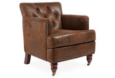 Margot Suede Club Chair, Saddle Brown