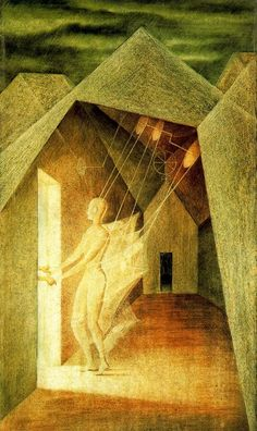 """""""Los hilos del destino"""" Remedios Varo The strings of destiny. Acid Trip Art, Francis Picabia, Spanish Painters, Mexican Artists, Surreal Art, Mythical Creatures, Dark Art, Les Oeuvres, Fantasy Art"""