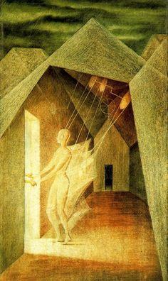 Los hilos del destino (1956. Óleo sobre masonite. 60 x 34,5 cm)