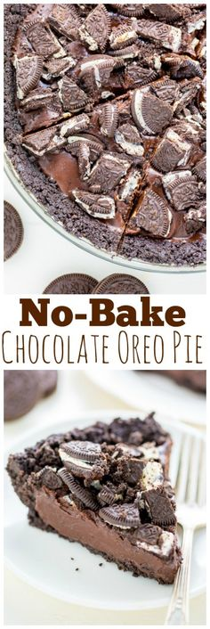 No oven required for this No-Bake Chocolate Oreo Pie! Only 4 ingredients needed!!! No Bake Chocolate Desserts, Chocolate Ganache Filling, Chocolate Oreo, Eggless Desserts, Chocolate Recipes, Oreo Desserts, Easy Desserts, Oreo Pie Recipes, Cake Recipes