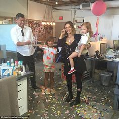 Surprise! Jessica Alba shared this tearful Instagram pic of her husband Cash Warren their two daughters Haven and Honor surprising her at work for her birthday on Tuesday