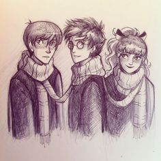 Ron, Harry and Hermione by andythelemon