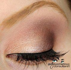 MAC eyeshadows used:  Grain (inner half of lid) Sketch (outer half of lid) Swiss Chocolate (crease) (Use NYX Dark Brown) Blanc Type (blend)