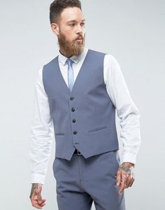 Selected Slim Wedding Vest With Stretch