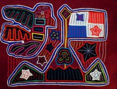 Kuna Indian Hand-Stitch Panama Flag Mola Art-Panama 15111016L