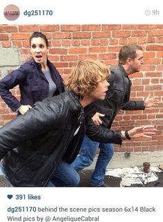 NCIS LA Los Angeles Daniela Ruah Eric Christian Olson Chris O Donnell behind the scenes on set photo