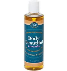 Baar Products exclusive Body Beautiful Massage Oil and Skin Lotion made from Extra Virgin Olive Oil, 100% pure Peanut Oil and Lanolin has the wonderful aroma of Lavender, known for its calming, relaxing and soothing effects. This product is all natural and unsurpassed in its quality. Maintain your skin's vitality; moisturizes and nourishes for a healthy complexion all over.