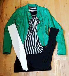 "//Outfit of the day ""Spring Feeling""   Leggings: Hudson; Lederjacke: Mango; Bluse: Vila; Rock: H&M; Kette: Primark  xoxo loo"