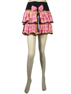 "Retro Mini Skirt- Bohemian Black Pink Plaid Printed Cotton Miniskirt Length 14"" Mogul Interior,http://www.amazon.com/dp/B00C66PK4W/ref=cm_sw_r_pi_dp_EHgxrbF1AC6A4990"