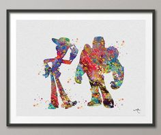 Woody and Buzz Toy Story Movie Watercolor Art Print Wall Art Poster Giclee Wall Decor Art Home Decor Wall Hanging No 213 on Etsy, $15.00