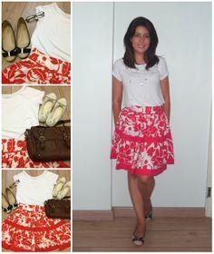 Print Skirt / White anda red / Saia estampada / branca e vermelha / white t-shirt /camiseta branca http://www.elropero.com/2013/01/my-fashion-set-noite-de-natal-e-final-de-semana.html