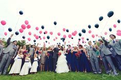 Fun ballon release at an beautiful, outdoor, country wedding- our colors!