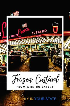 If you're looking for a fun place to find some of the best frozen custard in Wisconsin, this is it. The charming ice cream shop is an authentic blast from the past with a retro exterior that dates back to the 1940s. Yummy Drinks, Yummy Food, Frozen Custard, Magical Forest, Local Attractions, Helping People, State Parks, Wisconsin, 1940s