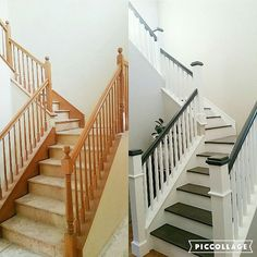 Thought I'd share a before and after pic of our staircase. We changed out the balusters for more modern square ones, painted the hand rail grey and updated the Newell post. Oh and of course got rid of the nasty carpet and replaced it with grey wood stairs. But if you've been following me for a while you know I love board and batten so we will be adding that soon♡♡♡ #remodel #stairs #woodstairs #makeovermonday #sunshinesunday #sundaysimplicity #moveitupmonday #multigrammonday #myneutralmonday…