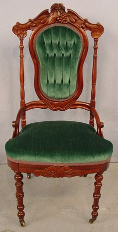 Victorian Rosewood Parlor Chair, Tufted Back With Carvings Of Grape Clusters, Leaves And Nuts