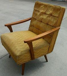 Mid Century Modern Kroehler Pair Of Sling Arm Chairs Low