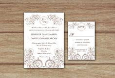 Vintage Rustic and Elegant Wedding Invitation #modern #wedding #invitation