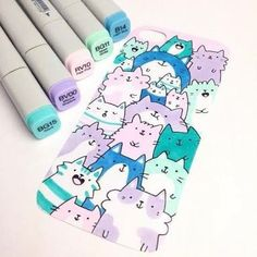 35 Super Ideas For Cute Art Drawings Doodles Awesome Copic Marker Art, Marker Kunst, Copic Art, Copic Markers, Copic Drawings, Kawaii Drawings, Cute Drawings, Cool Doodles, Kawaii Doodles