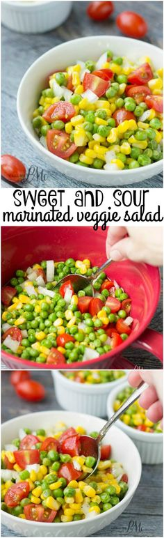 Sweet and Sour Marinated English Pea and Corn Salad is bright and fresh. Use frozen or canned vegetables for a tasty marinated salad recipe any time of year