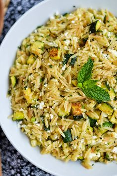 Apples and Sparkle: Skillet Orzo with Zucchini, Corn, Feta & Mint