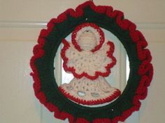 My crocheted Christmas wreath and angel